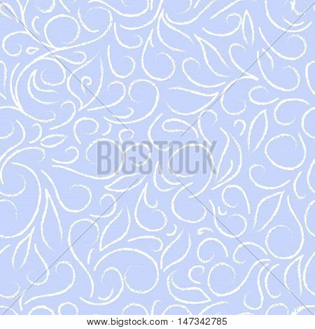 white abstract floral pattern on a blue background, in the style of frost lace on winter window. Hand drawn vector stock illustration