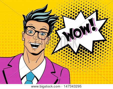 Wow Pop Art Man. Young Surprised Man In Glasses With Open Mouth. Vector Illustration In Retro Comic