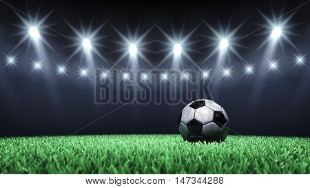 Soccer arena and ball with floodlights with copyspace , Football stadium , 3d illustration