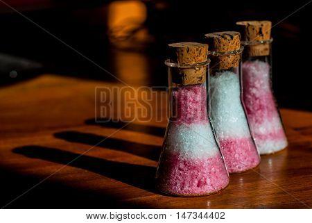 Icelandic Rhubarb Sea Salt mixed with Arctic Sea Salt flakes in small cute flasks.