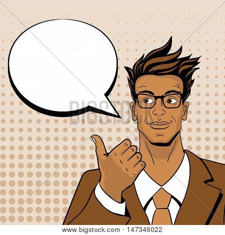 Pop art man. Young handsome man in glasses looking and pointing at speech bubble. Vector illustration in retro comic style. Vector pop art background.