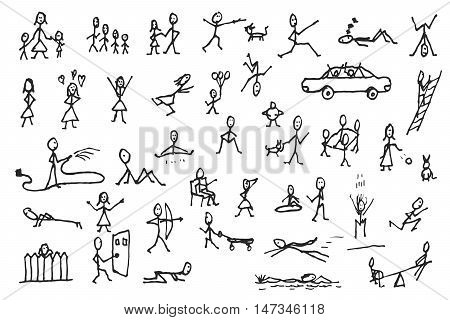 Large set of simple stick human and pets figures. People in motion. Big group of hand drawn people isolated on white background. Doodle stick figures sketch design elements. Vector illustration.