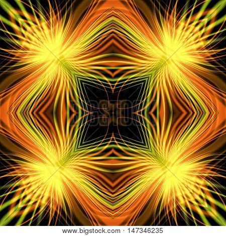 Abstract seamless pattern with rays resembling fireworks. Yellow, orange, green and red glowing background with intertwined blurred rays