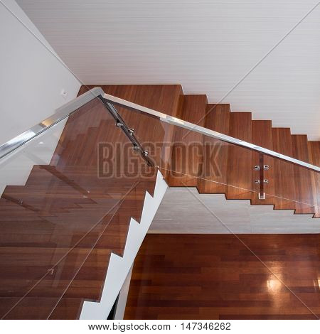 Modern design stairs made of wood and glass