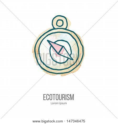 Vector Ecotourism Doodle On Watercolor Texture