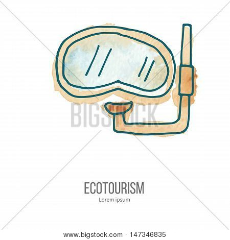 Diving mask with snorke. Ecotourism monochromatic line design element on hand painted abstract watercolor texture. Emblem logo template isolated on white background. Hand drawn doodle vector illustration.
