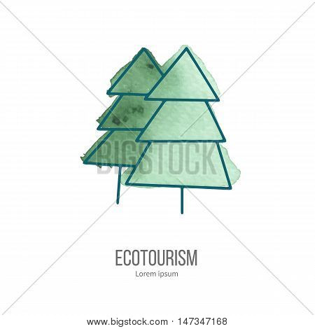 Coniferous trees. Ecotourism monochromatic line design element on hand painted abstract watercolor texture on white background.