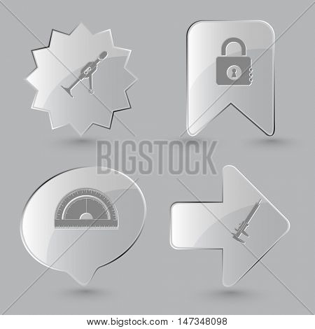 4 images: hand drill, closed lock, protractor, caliper. Industrial tools set. Glass buttons on gray background. Vector icons.