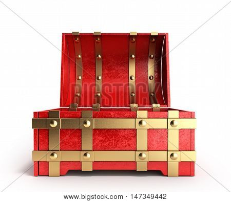 Open Red Chest Empty 3D Render On A White Background
