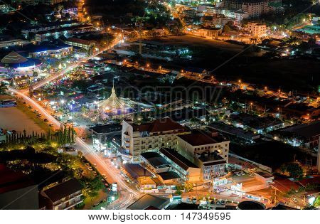 Colorful Night Light in Pattaya town Famous cityscape in Thailand at night time