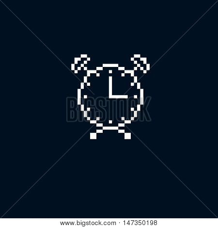 Vector Pixel Icon Isolated, 8Bit Graphic Element. Simplistic Alarm Clock Sign, Time Idea.
