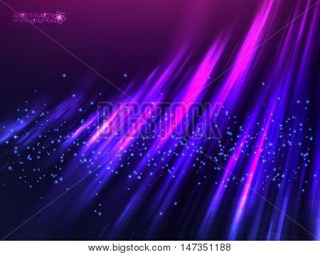 Violet aurora polar light vector abstract cosmic background