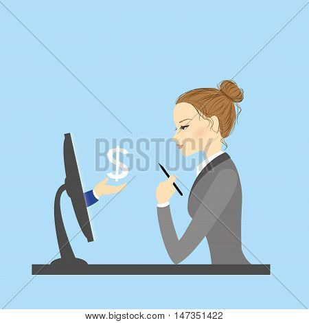 Business woman sitting at a computer monitor vector illustration