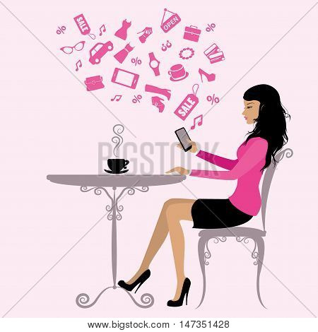 girl is drinking coffee and on the Internet via a smartphonevector illustration