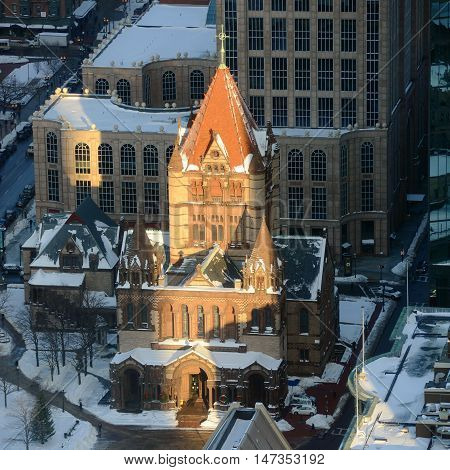 Boston Trinity Church Aerial view in winter, from the top of Prudential Center, Boston, Massachusetts, USA