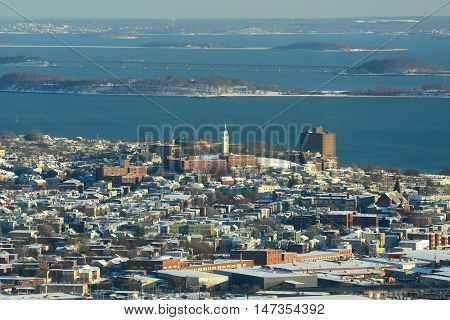 Dorchester Heights Monument and South Boston in winter, Boston, Massachusetts, USA