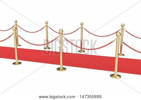 Gold stanchions and a red velvet carpet isolated on white. 3d illustration.