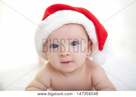 Christmas Cute Baby Boy Lying On White