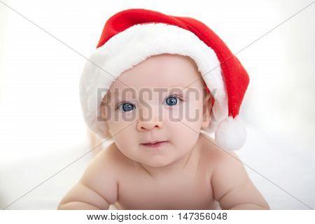 Christmas Cute Baby Boy Lying On White