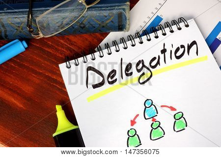 Notepad with Delegation on a wooden surface.
