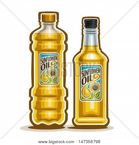 Vector logo 2 yellow plastic and glass Bottle with pure Sunflower Oil and label, bottles virgin cooking sunflower oil, container natural organic sunny flower liquid with cap, closeup isolated on white