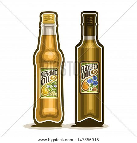 Vector logo 2 brown glass Bottle with pure Sesame Oil, bottles virgin cooking Flaxseed oil, container natural organic flax seed and linseed oily liquid with cap and label, closeup isolated on white.