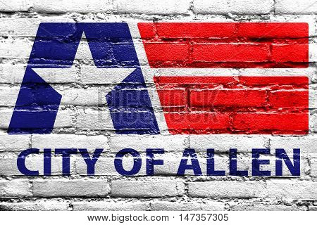 Flag Of Allen, Texas, Usa, Painted On Brick Wall