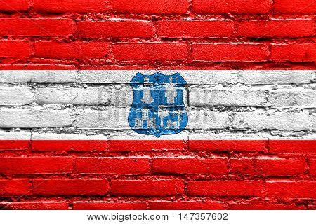 Flag Of Asuncion, Paraguay, Painted On Brick Wall