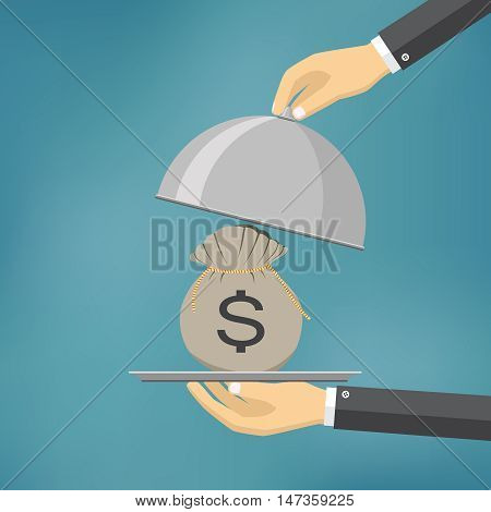 The businessman offering bag with money on the serve plate. The concept of funding a commercial project or investment in bank deposit. Flat design. Vector illustration