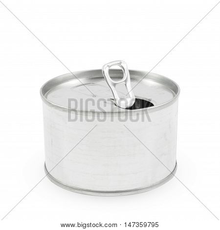 Opened White Blank Tin can,the open tin aluminum canned on white background