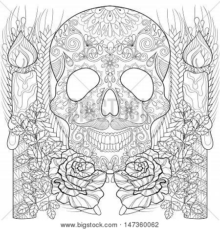 Zentangle stylized Skull with candles, roses, ears for Halloween. Freehand sketch for adult coloring page, book with artistically doodle elements. Ornamental vector illustration for  t-shirt or prints