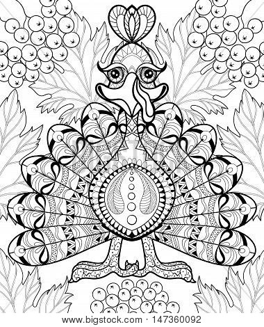 Zentangle stylized Turkey with autumn leaves for Thanksgiving day. Freehand sketch for adult anti stress coloring page with doodle elements. Ornamental artistic vector illustration. A4 size.