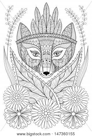 Zentangle wild fox with indian war bonnet in grass and flowers. Hand drawn ethnic free animal for adult coloring pages, boho t-shirt patterned print, posters and logo. Vector isolated illustration. A4