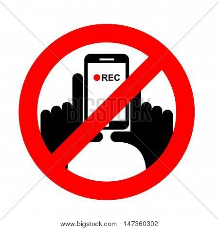Stop Vertical Video. It Is Forbidden To Record Video. Prohibition Sign. Crossed-shooting Smartphone.