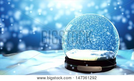 Christmas Snow globe Snowflake close-up blizzard blue