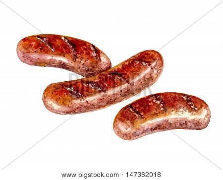 Hand drawn food and drink illustration. Grilled bratwursts isolated on white. Fried sausages.