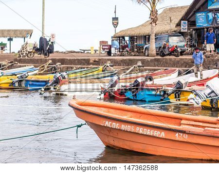 Easter Island Chile - October 10 2014: View of the Hanga Roa harbor on a spring day Easter Island Chile