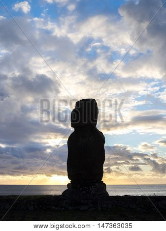 The Sunset And The Moai