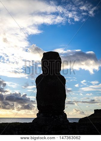 The lonesome Moai in Easter Island, Chile