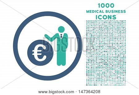 Euro Economist rounded vector bicolor icon with 1000 medical business icons. Set style is flat pictograms, cobalt and cyan colors, white background.