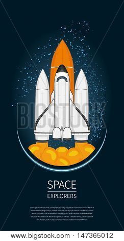 Modern Design Vector Illustration With Space Shuttle Launch. Universe Exploration And New Technology