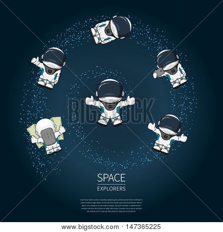 Set of Hand drawn cartoon astronaut in space suit. Line art cosmic vector illustration