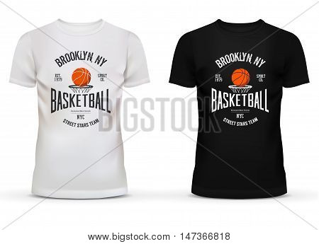 T-shirt cotton sportswear with basketball theme. Adult or teenager wear with ball and basket saying brooklyn new york or NYC. Can be used for sport shop advertisement and casual dress theme