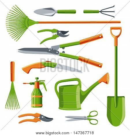 Essential gardening tools set vector kit isolated