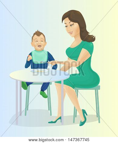 Mother feeding baby at the table. Mum giving spoon with cereals to her son