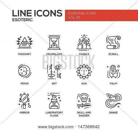 Esoteric - set of modern vector plain line design icons and pictograms. Masonry, hourglass, candle, scroll, moon, key, sun, hand palm, mirror, laboratory flask skull and dagger snake