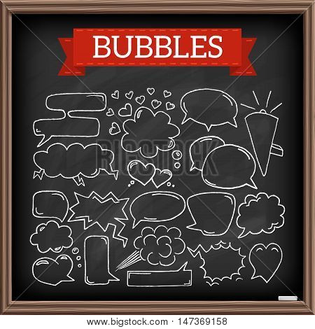Hand drawn speech bubbles with hearts and clouds, chalkboard effect. Doodle graphic design elements. Vector illustration.