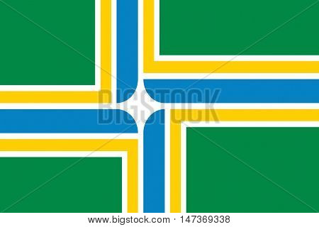 Flag of Portland in state of Oregon United States