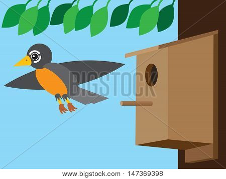 Stylized flat vector robin flying away from birdhouse attached to tree
