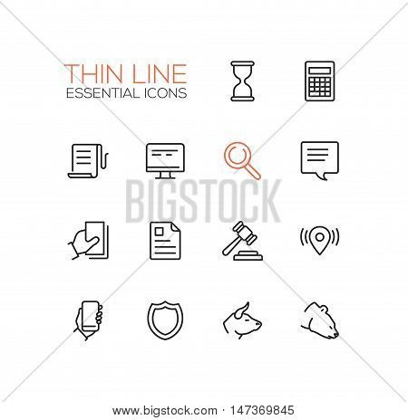 Business, finance, law symbols - set of modern vector thick line design icons and pictograms. Hourglass, calculator, document, search, desktop, message, gavel, location smartphone bull bear shield